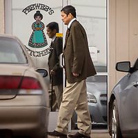 Carl Gilson enters PeeWee's Kitchen in Gallup for a meeting February 3, 2017.