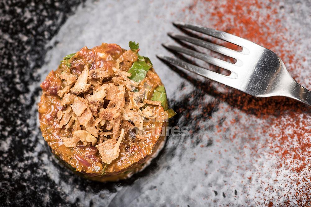Bastard steak tartare at Flavour Bastard in Soho as part of restaurant review.<br /> Picture by Daniel Hambury/Stella Pictures Ltd 07813022858<br /> 04/09/2017