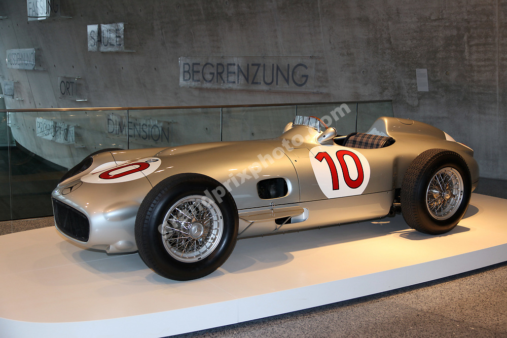 A Mercedes F1 car from 1955 at Mercedes museum for the 2010 Mercedes launch in Stuttgart. Photo: Grand Prix Photo
