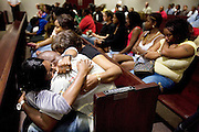 """4/26/07- DADE CITY,FL.-  Charles Harrison Jr, son of slain Pasco Sheriff Lt. Charles"""" Bo"""" Harrison, hugs sister Sandy Harrison, after the verdict is read in the trial of Alfredie Steele who was found guilty Thursday evening. ( SCOTT ISKOWITZ/ TAMPA TRIBUNE)"""