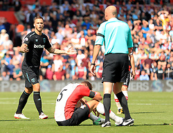 West Ham United's Marko Arnautovic reacts before being sent off by Referee Lee Mason during the Premier League match at St Mary's, Southampton.