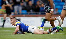Leeds Rhinos Jack Walker celebrates his try against Catalans Dragons, during the Betfred Super League match at Emerald Headingley Stadium, Leeds.