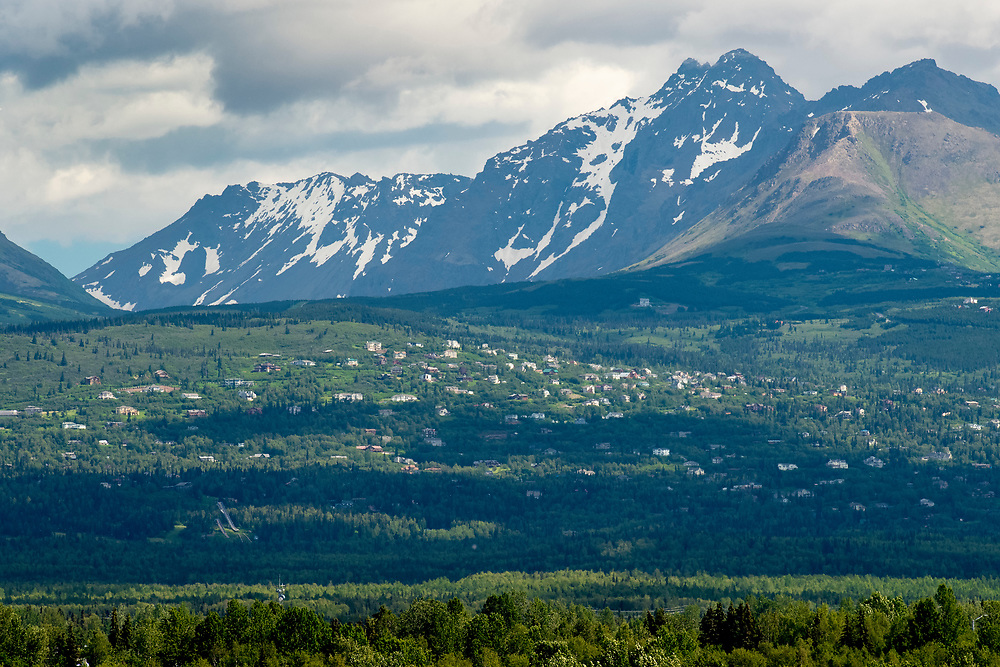 Alaska Homes on the Hillside area of Anchorage in summer.