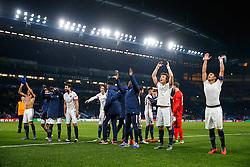 David Luiz and Thiago Silva celebrate after Paris Saint-Germain win the math 1-2 to progress to the last 8 of the competition - Mandatory byline: Rogan Thomson/JMP - 09/03/2016 - FOOTBALL - Stamford Bridge Stadium - London, England - Chelsea v Paris Saint-Germain - UEFA Champions League Round of 16: Second Leg.