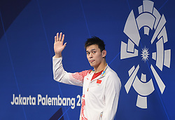 JAKARTA, Aug. 24, 2018  Sun Yang of China attends the awarding ceremony of men's 1500m freestyle final of swimming at the 18th Asian Games in Jakarta, Indonesia, Aug. 24, 2018. Sun won the gold medal. (Credit Image: © Pan Yulong/Xinhua via ZUMA Wire)