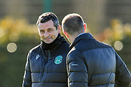 Hibernian FC manager, Jack Ross (left) speaks with Hibernian FC assistant head coach, John Potter during the training session for Hibernian FC at the Hibs Training Centre, Ormiston, Scotland on 26 February 2021, ahead of the SPFL Premiership match against Motherwell.