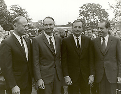Washington, DC, USA - United States President Richard M. Nixon meets the Apollo 11 astronauts, Neil A. Armstrong, Edwin E. Aldrin,Jr., and Michael Collins, on the lawn of the White House on their return from their Global Goodwill Tour on November 5, 1969. The GIANTSTEP-APOLLO 11 Presidential Goodwill Tour emphasized the willingness of the United States to share its space knowledge. The tour carried the Apollo 11 astronauts and their wives to 24 countries and 27 cities in 45 days. Photo by NASA via CNP/ABACAPRESS.COM