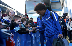 Chelsea's Willian arrives at Stamford Bridge before the match