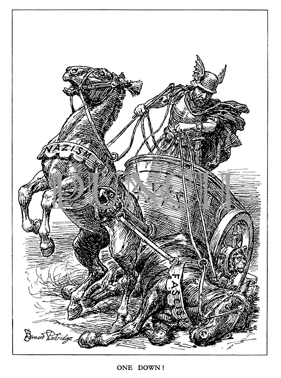One Down! (the Axis chariot driven by a German God of War loses one of his horses, Fascism, while the other, Nazism struggles on)