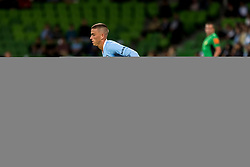 February 9, 2019 - Melbourne, VIC, U.S. - MELBOURNE, AUSTRALIA - February 09 : Shayon Harrison of Melbourne City  and Ryan Strain of Adelaide United  contest the ball during round 18 of the Hyundai A-League Series between Melbourne City and Adelaide United on February 9 2019, at AAMI Park in Melbourne, Australia. (Photo by Jason Heidrich/Icon Sportswire) (Credit Image: © Jason Heidrich/Icon SMI via ZUMA Press)