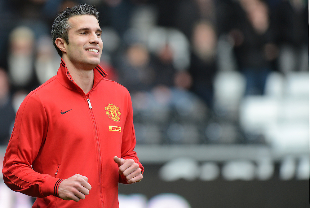 Manchester United's Robin van Persie during the pre match warm up ..Football - Barclays Premiership - Swansea City v Manchester United - Sunday 23rd December 2012 - The Liberty Stadium - Swansea..