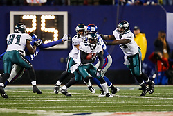 Philadelphia Eagles cornerback Macho Harris #35 returns a kick during the NFL game between the Philadelphia Eagles and the New York Giants on December 13th 2009. The Eagles won 45-38 at Giants Stadium in East Rutherford, New Jersey. (Photo By Brian Garfinkel)