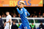AFC Wimbledon striker Lyle Taylor (33) celebrating after scoring goal during the EFL Sky Bet League 1 match between AFC Wimbledon and Walsall at the Cherry Red Records Stadium, Kingston, England on 25 November 2017. Photo by Matthew Redman.
