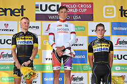 September 25, 2017 - Waterloo, UNITED STATES - Dutch Corne Van Kessel, Dutch Mathieu Van Der Poel and Belgian Daan Soete pictured on the podium after the 'Trek CX Cup' cyclocross cycling race, the second stage of the world cup cyclocross in Waterloo (WI), USA, Sunday 24 September 2017. BELGA PHOTO DAVID STOCKMAN (Credit Image: © David Stockman/Belga via ZUMA Press)
