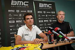 July 16, 2018 - Aix-Les-Bains, FRANCE - Belgian Greg Van Avermaet of BMC Racing and BMC Racing Team President and General Manager Jim Ochowicz pictured during a press conference during the first rest day in the 105th edition of the Tour de France cycling race, in Aix-les-Bains, France, Monday 16 July 2018. This year's Tour de France takes place from July 7th to July 29th. BELGA PHOTO DAVID STOCKMAN (Credit Image: © David Stockman/Belga via ZUMA Press)