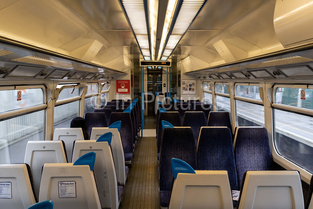 The day after the government introduced a third Coronavirus pandemic national lockdown, effectively a Tier 5 restriction, a train carriage remains empty as the capital experiences a grim post-Christmas and millions of Britons are told to stay at home, on 5th January 2021, in London, England.