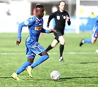 Fotball ,  OBOS-Ligaen<br /> 07.04.19<br /> Nammo Stadion<br /> Raufoss v Sandefjord  0-2<br /> Foto :  Dagfinn Limoseth , Digitalsport<br /> Brice Wembangomo  , Sandefjord