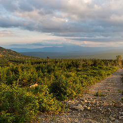 Logging road on the lower slopes of Mount Abraham, Maine. High Peaks region. Mount Blue is in the distance.