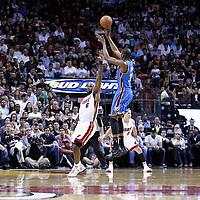 16 March 2011: Oklahoma City Thunder small forward Kevin Durant (35) takes a jumpshot Miami Heat small forward LeBron James (6) during the Oklahoma City Thunder 96-85 victory over the Miami Heat at the AmericanAirlines Arena, Miami, Florida, USA.
