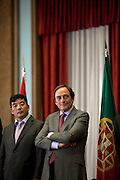 Cao Guangjing and Paulo Portas, portuguese Minister for Foreign Affairs.<br /> The president of China Three Gorges electric company, Cao Guangjing; the chairman of the board of Parpública, Joaquim Reis, and António Mexia, chairman of the Board of EDP signed an agreement that gives the first formal step for the acquisition of a state share of 21.35% in the EDP, the portuguese electric company.