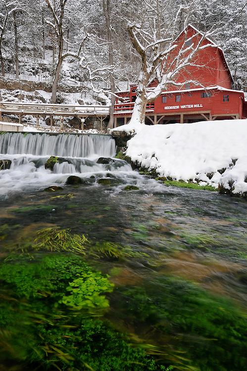 A wintery Hodgson Mill, Ozark County, Missouri.