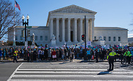Washington, DC, USA -- March 4, 2020. Wide angle photo of protesters in front of the Supreme Court at an abortion rights rally; Capitol police direct traffic.