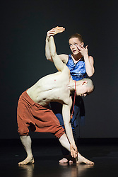 "© Licensed to London News Pictures. 22/06/2014. London, England. Guro Nagelhus Schia and Kazutomi ""Tsuki"" Kozuki perform ""Matter"". Dress rehearsal of Eastman-Sidi Larbi Cherkaoui's ""4D"". 4D is part of Sadler's Sampled, a two week taster festival of dance at low prices (standing tickets from GBP 8), which runs to 29 June 2014 at Sadler's Wells, London. Photo credit: Bettina Strenske/LNP"