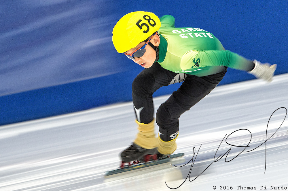 March 20, 2016 - Verona, WI - Justin Liu, skater number 58 competes in US Speedskating Short Track Age Group Nationals and AmCup Final held at the Verona Ice Arena.