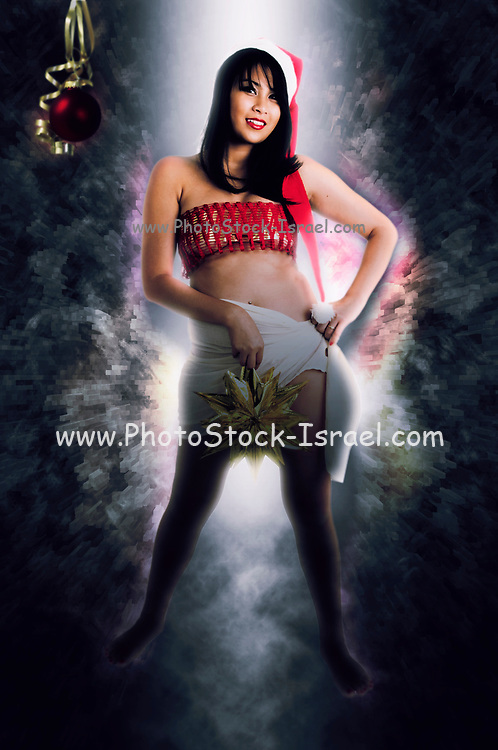 Digitally enhanced image of a young sexy Asian woman with Santa hat