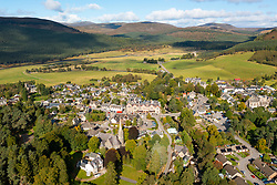 Aerial view from drone of village of Braemar in Cairngorms National Park, on Royal Deeside, Aberdeenshire, Scotland, UK