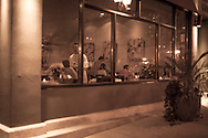 Downtown Chicago restaurant at night