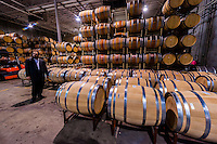 Wine barrels, Herzog Wine Cellars (a kosher winery), Oxnard, California USA