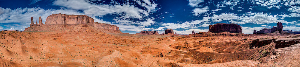 monument valley utah panorama with the mittens and three sisters