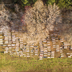 Drone view of the historic Harrisville Malone Cemetery in Madison, Maryland. Spring.