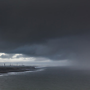 Heavy sky above Sellafield nuclear fuel reprocessing and nuclear decommissioning site, Cumbria.