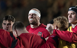 Dragons' Rynard Landman listens intently during the pre match team huddle.<br /> <br /> Photographer Simon Latham/Replay Images<br /> <br /> Anglo-Welsh Cup Round Round 4 - Dragons v Worcester Warriors - Friday 2nd February 2018 - Rodney Parade - Newport<br /> <br /> World Copyright © Replay Images . All rights reserved. info@replayimages.co.uk - http://replayimages.co.uk
