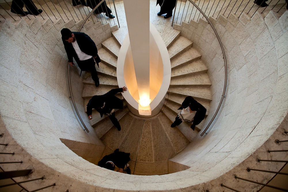 Ultra-Orthodox Jewish men roam the halls of the Supreme Court in Jerusalem, on June 15, 2010, prior to a discussion regarding the segregation between Ashkenazi and Sephardic Jewish girls at the Beit Yaakov school in Immanuel.