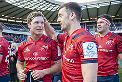 March 30, 2019 - Edinburgh, Scotland, United Kingdom - Darren Sweetnam and Tyler Bleyendaal of Munster celebrate during the Heineken Champions Cup Quarter Final match between Edinburgh Rugby and Munster Rugby at Murrayfield Stadium in Edinburgh, Scotland, United Kingdom on March 30, 2019  (Credit Image: © Andrew Surma/NurPhoto via ZUMA Press)