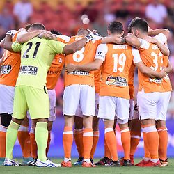 BRISBANE, AUSTRALIA - DECEMBER 21: Brisbane Roar players huddle together before the Round 12 Hyundai A-League match between Brisbane Roar and Perth Glory on December 21, 2017 in Brisbane, Australia. (Photo by Patrick Kearney / Brisbane Roar FC)