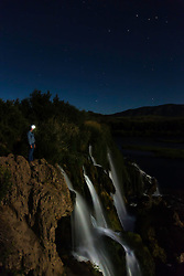 Night shift. A starry night enjoyed by few at Fall Creek Falls in Swan Valley Idaho.