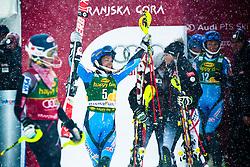 HANSDOTTERFrida of Sweden celebrates her first victory during the 2nd Run of 50th Golden Fox Audi Alpine FIS Ski World Cup Ladies Slalom, on February 2, 2014 in Podkoren, Kranjska Gora, Slovenia. (Photo By Matic Klansek Velej / Sportida.com)