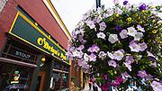 O'Briens Pub and flower basket, Ouray, Colorado USA