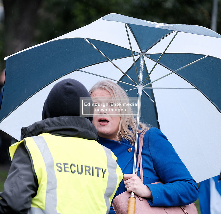 All Under One Banner March, Edinburgh, 5 October 2019<br /> <br /> Pictured: BBC reporter Catriona Renton has problems getting into the backstage area at the Meadows<br /> <br /> Alex Todd | Edinburgh Elite media