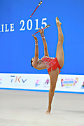 Diaz Karla during qualifying at clubs in Pesaro World Cup 11 April 2015.<br /> Karla born 5 July, 1995 in Mexico City is a Mexican individual rhythmic gymnast.