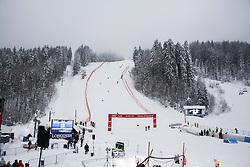 Workers preparing course prior to the 1st Run of 50th Golden Fox Audi Alpine FIS Ski World Cup Ladies Giant Slalom, on February 1, 2014 in Podkoren, Kranjska Gora, Slovenia. (Photo By Matic Klansek Velej / Sportida.com)