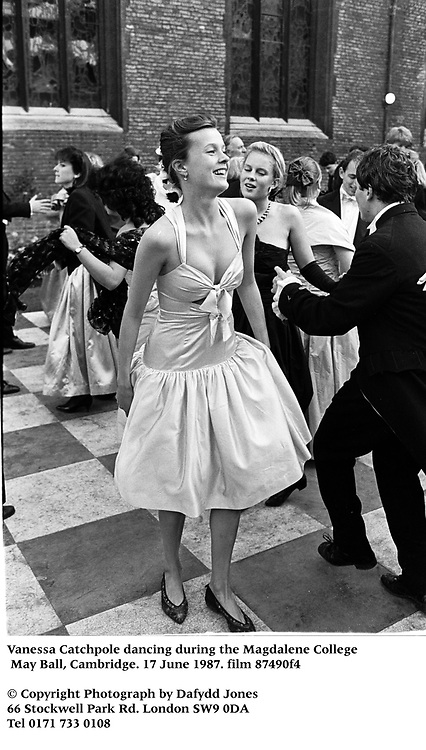 Vanessa Catchpole dancing during the Magdalene College May Ball, Cambridge. 17 June 1987. film 87490f4<br />© Copyright Photograph by Dafydd Jones<br />66 Stockwell Park Rd. London SW9 0DA<br />Tel 0171 733 0108