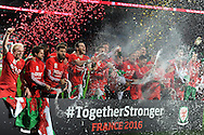 The Wales team celebrates after the match as the Wales team qualify for Euro 2016 finals in France.  Wales v Andorra, Euro 2016 qualifying match at the Cardiff city stadium  in Cardiff, South Wales  on Tuesday 13th October 2015. <br /> pic by  Andrew Orchard