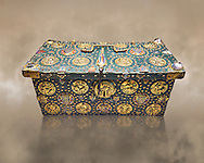 """Medieval case known as """"of Saint Louis"""",  made in Limoges around 1236. Given by Philip the Fair to the Abbey of Notre Dame du Lis with relics of Saint Louis inside., Paris. inv 253, The Louvre Museum, Paris. .<br /> <br /> If you prefer you can also buy from our ALAMY PHOTO LIBRARY Collection visit : https://www.alamy.com/portfolio/paul-williams-funkystock/limoges-enamel-antiquities.html Type - louvre - into the LOWER SEARCH WITHIN GALLERY box. <br /> <br /> Visit our MEDIEVAL ART PHOTO COLLECTIONS for more photos to download or buy as prints https://funkystock.photoshelter.com/gallery-collection/Medieval-Gothic-Art-Antiquities-Historic-Sites-Pictures-Images-of/C0000gZ8POl_DCqE"""