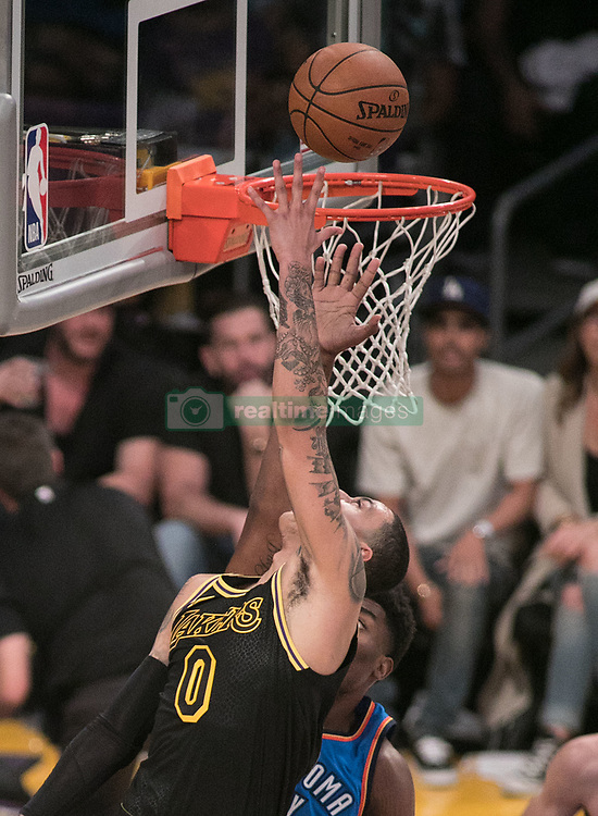 February 8, 2018 - Los Angeles, California, U.S - Kyle Kuzma #0 of the Los Angeles Lakers goes for a reverse layup during their NBA game with the Oklahoma Thunder on Thursday February 8, 2018 at the Staples Center in Los Angeles, California. Lakers vs. Thunder. (Credit Image: © Prensa Internacional via ZUMA Wire)