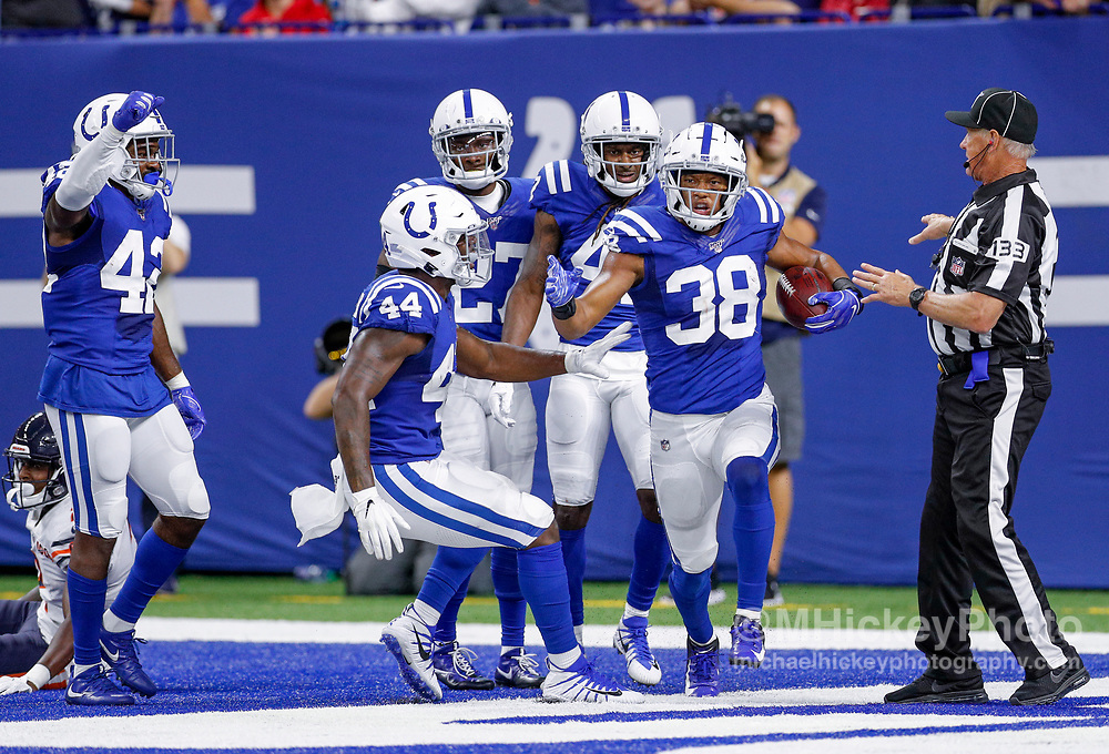 INDIANAPOLIS, IN - AUGUST 24: Isaiah Johnson #38 of the Indianapolis Colts celebrates an interception during the game against the Chicago Bears at Lucas Oil Stadium on August 24, 2019 in Indianapolis, Indiana. (Photo by Michael Hickey/Getty Images) *** Local Caption *** Isaiah Johnson